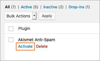 How do I activate Akismet?
