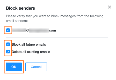 Block and unblock addresses in business email