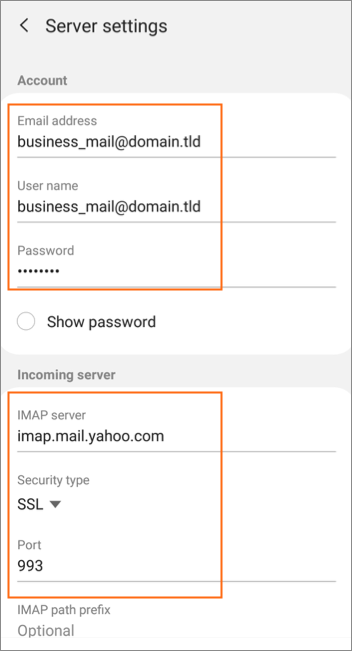 Set up business mail on Android