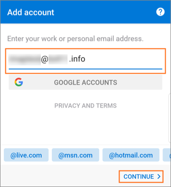Set up business email in Outlook for Android