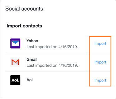 Import your contacts to business email