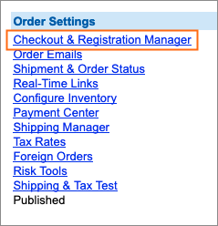 The Checkout & Registration Manager link is under Order Settings.
